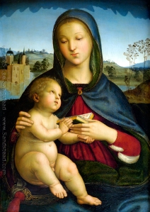 """Madonna and Child with Book"" by Raphael."