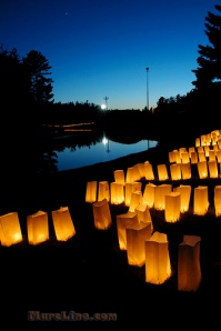 To remember loved ones lost to cancer, luminaries are lit at dusk.