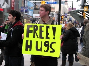 Hugs for free in Toronto in March. No GST either.
