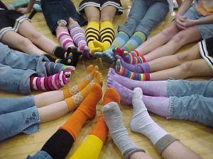 Love these rainbow feet. (Toe-socks, not so much.)