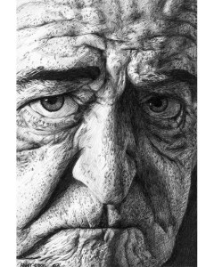 """Old Man,"" pen-and-ink drawing by Andy Cook."