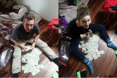 Pin it button big Reese Wekhoven (left) and Lara Russo (right) with the cash they found in their sofa. Photo via The Little Rebellion